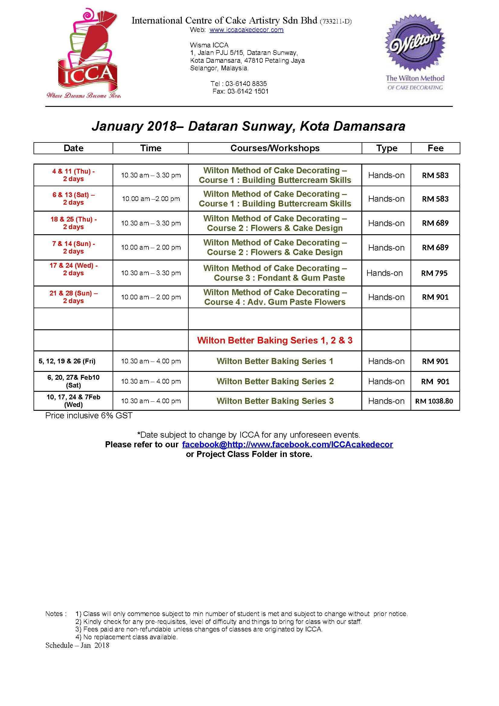 Schedule January 2018